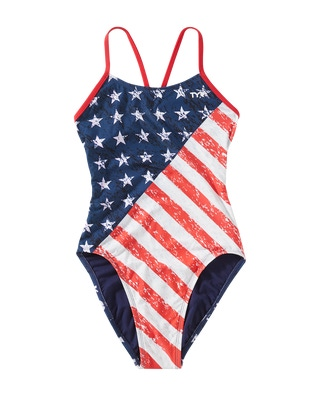 TYR Girls' Star Spangled Cutoutfit Swimsuit