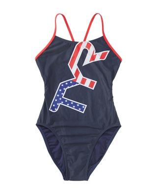 TYR Girls' Big Logo USA Cutoutfit Swimsuit