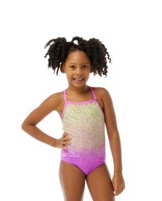 TYRxSimone Girls' Galactic Glow Diamondfit Swimsuit