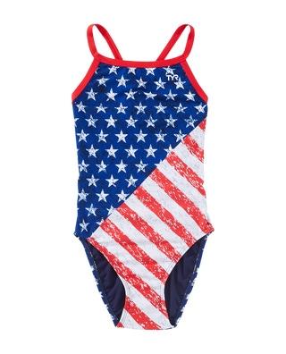TYR Girl's Star Spangled Diamondfit Swimsuit