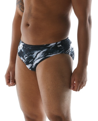 TYRxSimone Men's Marble Clouds Racer Swimsuit