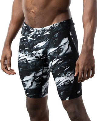 TYRxSimone Men's Marble Clouds Viper Splice Jammer Swimsuit