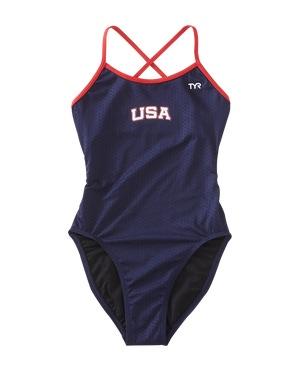TYR Girl's Hexa USA Trinityfit Swimsuit